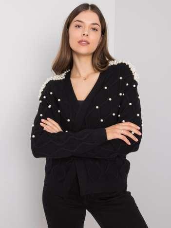 Czarny sweter z perełkami Meridiah