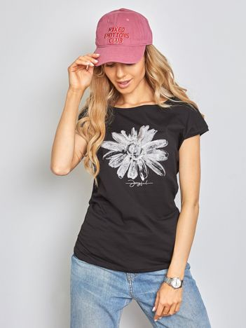 Czarny t-shirt Floral