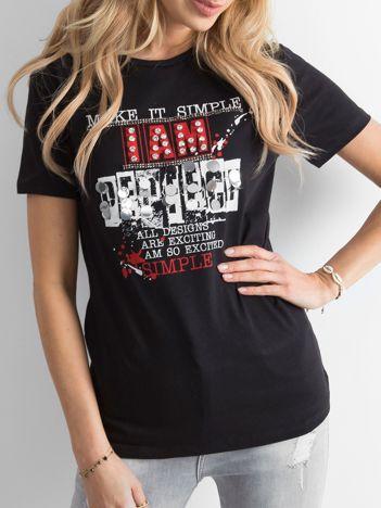 Czarny t-shirt damski z nadrukiem