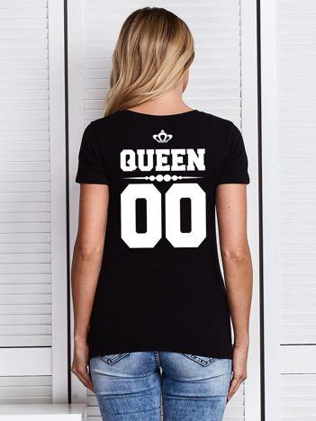 Czarny t-shirt damski z nadrukiem QUEEN z tyłu dla par