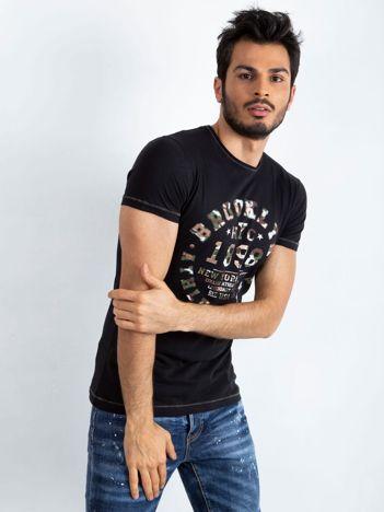 Czarny t-shirt męski College