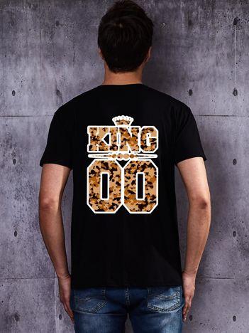 Czarny t-shirt męski KING dla par z moro nadrukiem z tyłu