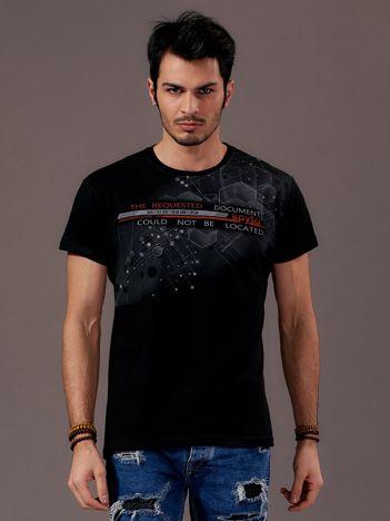 Czarny t-shirt męski urban print