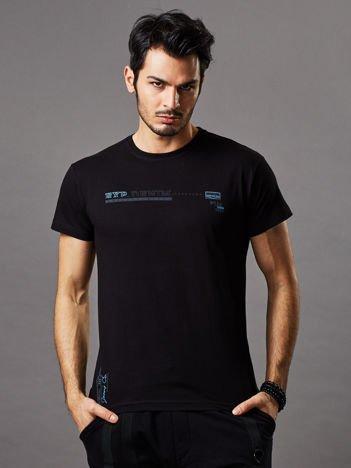 Czarny t-shirt męski z drobnym printem