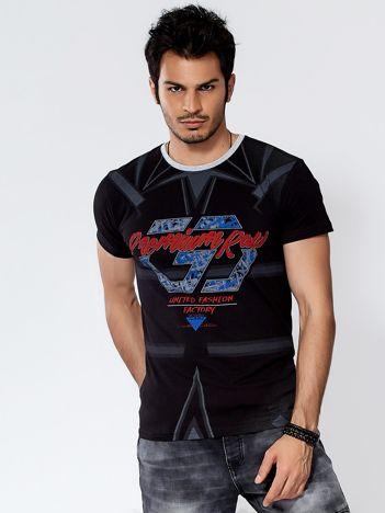 Czarny t-shirt męski z graficznym printem
