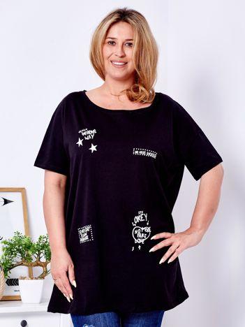 Czarny t-shirt z aplikacją PLUS SIZE