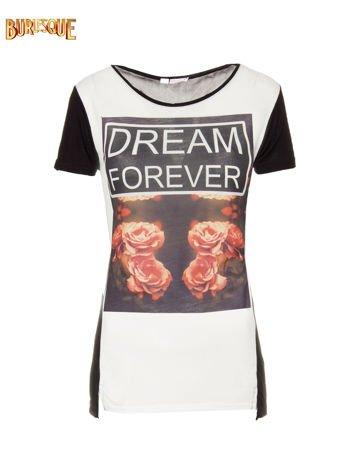 Czarny t-shirt z motywem kwiatowym i napisem DREAM FOREVER