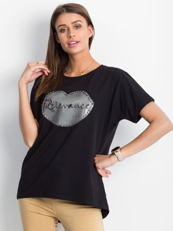 Czarny t-shirt z motywem ust