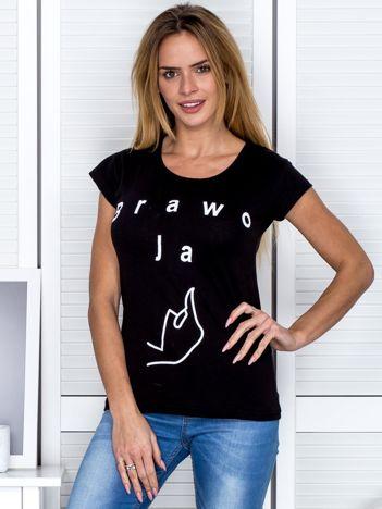 Czarny t-shirt z napisem BRAWO JA