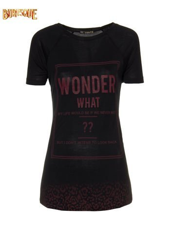 Czarny t-shirt z napisem WONDER WHAT?