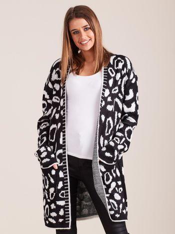 Czarny wzorzysty sweter damski