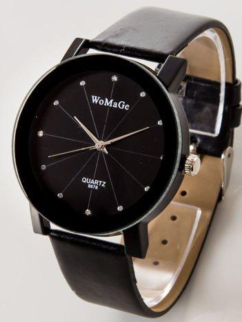 Czarny zegarek damski z cyrkoniami