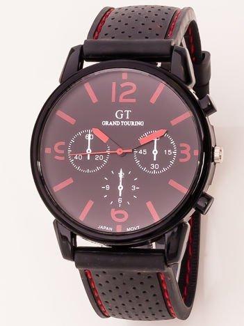 Czarny zegarek męski z czerwonymi dodatkami GT