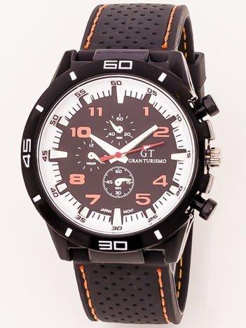 Czarny zegarek męski z pomarańczowymi i białymi wstawkami na silikonowym wygodnym pasku