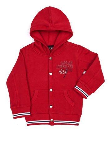 Czerwona bawełniana bluza dziecięca z kapturem i napami