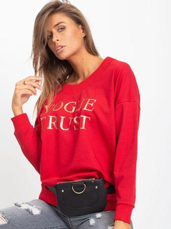 Czerwona bawełniana bluza oversize z nadrukiem