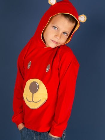Czerwona bawełniana bluzka dziecięca z niedźwiadkiem 3D
