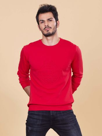 Czerwona bluza męska bez kaptura