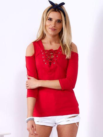 Czerwona bluzka cold arms ze sznurowaniem