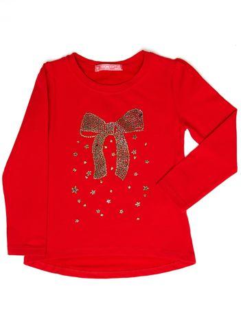 Czerwona bluzka dla dziewczynki z biżuteryjną kokardą