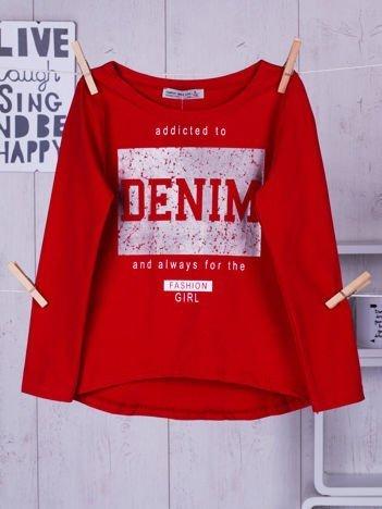 Czerwona bluzka dziewczęca ze srebrnym nadrukiem