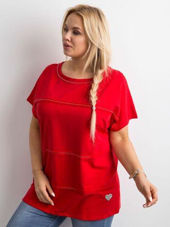 Czerwona bluzka plus size z aplikacją