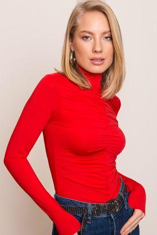 Czerwona bluzka z marszczeniami BSL