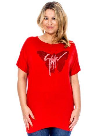 Czerwona bluzka z motylem z dżetów PLUS SIZE