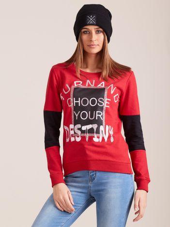 Czerwona dresowa bluza z nadrukiem