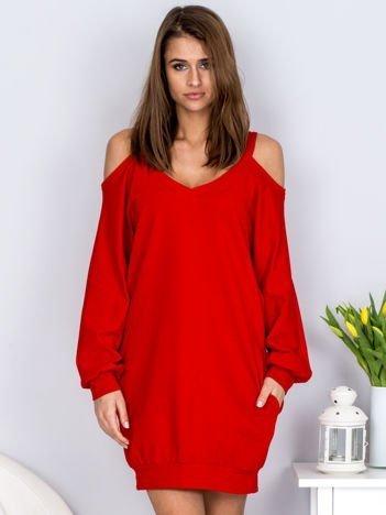 Czerwona dresowa sukienka cold arms