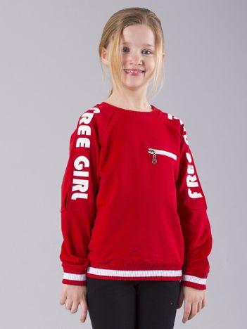 Czerwona dziewczęca bluza z nadrukiem i suwakiem