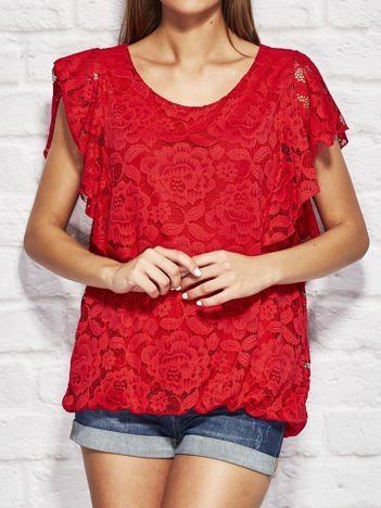 Czerwona koronkowa bluzka damska
