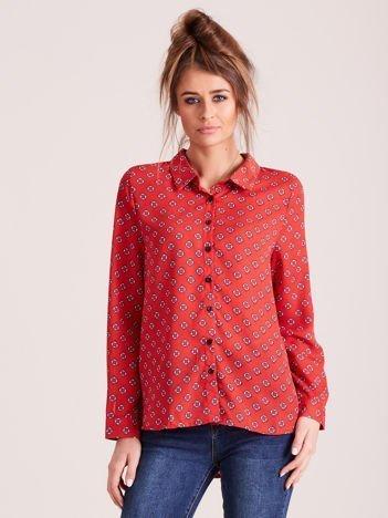 Czerwona koszula z morskim nadrukiem