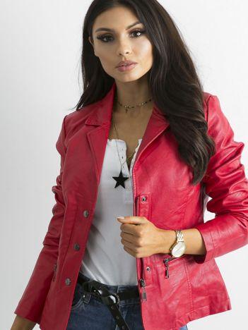 Czerwona kurtka damska ze skóry ekologicznej