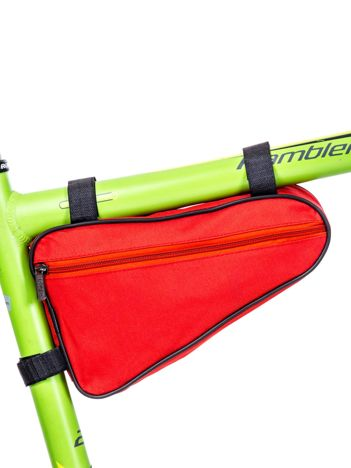 Czerwona materiałowa saszetka na rower