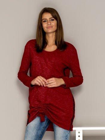 Czerwona melanżowa tunika ze ściągaczem