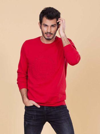 Czerwona męska bluza z wypukłym wzorem