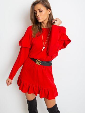 Czerwona sukienka Frills