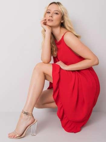 Czerwona sukienka na ramiączkach Simone