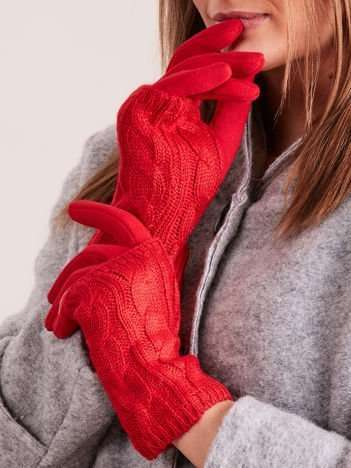 Czerwone Damskie Ocieplane Rękawiczki MITENKI