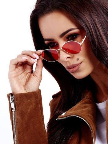 Czerwone Metalowe Owalne Okulary Unisex