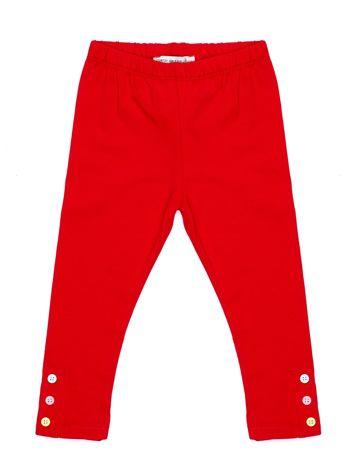 Czerwone legginsy dla dziewczynki z kolorowymi guzikami