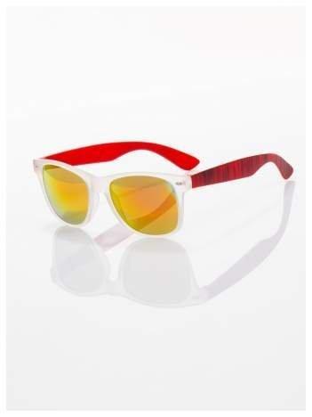 Czerwone  lustrzanki z filtrami UV okulary z klasyczną oprawką WAYFARER NERD z efektem mlecznej szyby -odporne na wyginania
