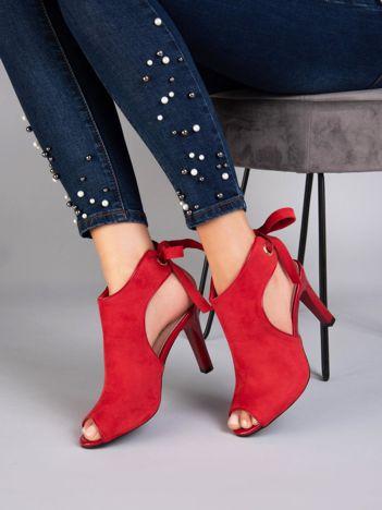 Czerwone sandały na szpilkach SERGIO LEONE wiązane na tyle cholewki