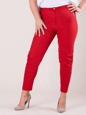 Czerwone spodnie z suwakami PLUS SIZE