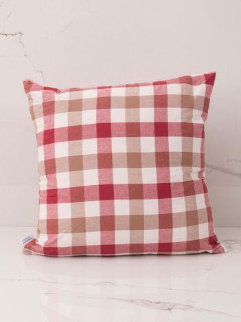 Czerwono-beżowa poduszka dekoracyjna