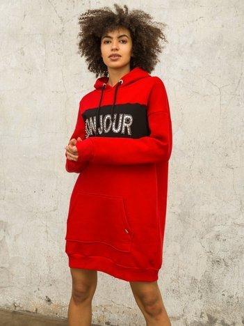 Czerwono-czarna bluza Bonjour