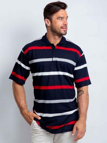 Czerwono-granatowa koszulka polo męska plus size Turnover
