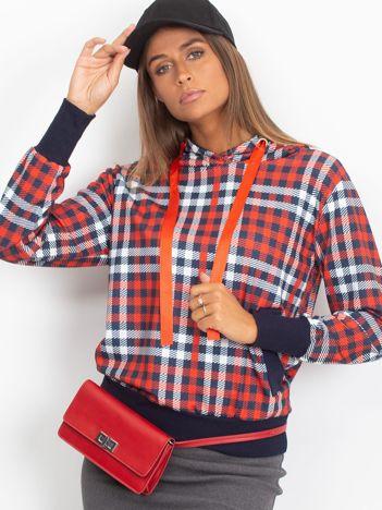 Czerwono-granatowa lekka bluza w kratkę z kapturem