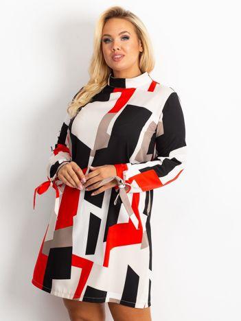 Czerwono-granatowa sukienka plus size Until